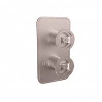 Crosswater Union Single Outlet Thermostatic Shower Valve Brushed Nickel Wheel Control