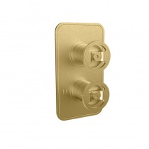 Crosswater Union Single Outlet Thermostatic Shower Valve Brushed Brass Wheel Control
