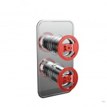 Crosswater Union Thermostatic Shower Valve with 3 Way Diverter Chrome Red Wheel
