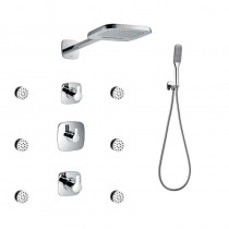 Urban Thermostatic Shower Mixer Set with Body Jets