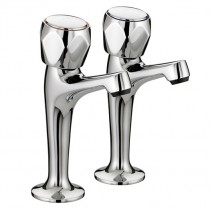Club High Neck Pillar Kitchen Taps with Metal Heads (Pair)