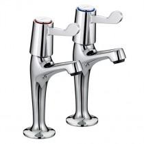 Value Lever High Neck Pillar Taps 6 Inch Levers