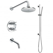 XL Thermostatic Shower with Fixed Head, Spout and Shower Kit