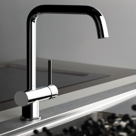 Gessi Oxygen Sink Mixer With Swivel Spout and Side Lever Brushed Steel