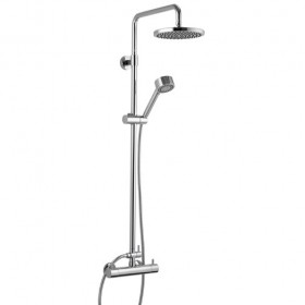 Levo Exposed Bar Shower with Rigid Riser, Handset and Fixed Head