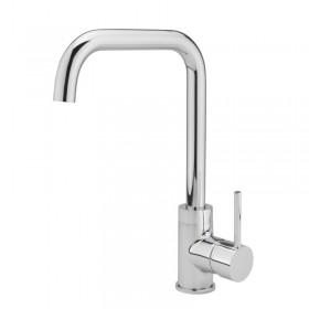 Side Lever L Spout Kitchen Sink Mixer Chrome
