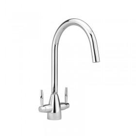 Twin Lever Handle Monobloc Kitchen Sink Mixer Chrome