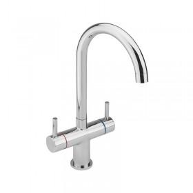 Twin Lever Handle U Spout Monobloc Kitchen Sink Mixer Chrome