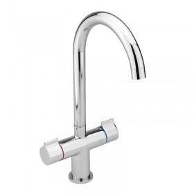 Twin Round Handle Monobloc Kitchen Sink Mixer Chrome