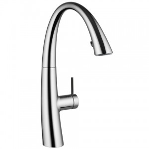 Zoe Monobloc Kitchen Tap with LED and Pull-Out Aerator Steel