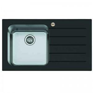 Bristan l Kitchen Sink Glacier 1.0 Bowl Black Glass Right Drainer GLL SKGLA1 BR