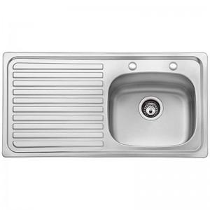 Bristan l Kitchen Sink Inox 2 Taphole 1 Bowl Steel Left Handed SK INXTT1 SL