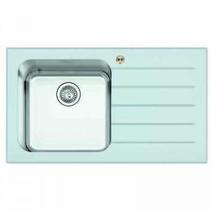 Bristan l Kitchen Sink Glacier 1.0 Bowl White Glass Right Drainer GLL SKGLA1 WR