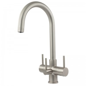Verona 3 Lever Mixer And Cold Filter Tap Brushed Steel