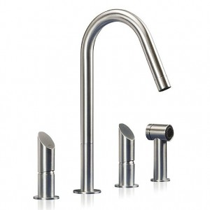 T45 SP 3 Hole Kitchen Mixer with Side Spray