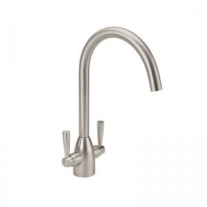 Twin Lever Handle Monobloc Kitchen Sink Mixer Brushed Nickel