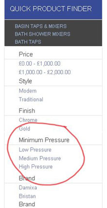 Low Pressure Product Finder